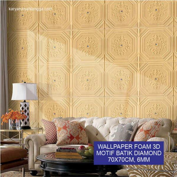 Batik Diamond Wallpaper 3D Foam Stiker Dinding 70x70cm